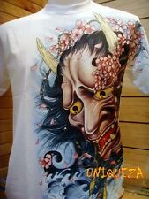 3D Japan Hannya Demon Front Back Japanese Tattoo Tee White T-shirt New w Tag