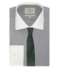 Hawes & Curtis Mens End On End Classic Fit Shirt White Collar Single Cuff