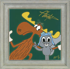 Rocky and Bullwinkle Allyson Vought AP 1 Framed Tile NEW Signed Squirrel Moose