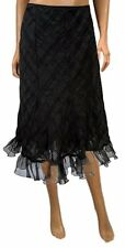 New Ladies Calf Length Lace Frill Skirt Black Casual Formal Skirt Womens Size