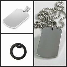 Mens Ball Bead Chain Steel Stainless Military Army Dog Tag Pendant
