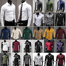 Mens Slim Fit Shirt Top Long Sleeve Dress Formal Business Shirts Casual T-shirts
