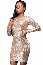 Adogirl Champagne Long Sleeves Cut out Bare Back Sequin Mini Dress Sexy Womens