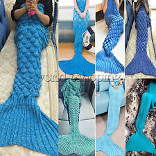 Adults Kids Crocheted Mermaid Tail Blanket Warm Soft Cocoon Beach Knit Rug Quilt