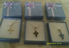 """costume jewellery pendant crystall cross on silver col chain sz 17"""" 3 col"""