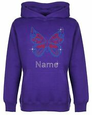 Personalised Butterfly Rhinestone Diamante Embellished Hoodie Gift for Girls