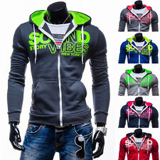 2016 Mens Slim Fit Hooded Sweatshirt Zipper Coat Casual Jacket Outwear Sweater