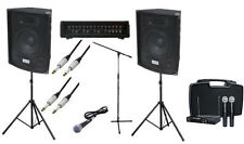 Complete 200W PA Speaker System for Band DJ - Wireless Mic, Leads & Stand