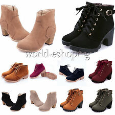Womens Ladies Suede Martin Boots Lace Up Zip Platform Riding Ankle Bootie Shoes