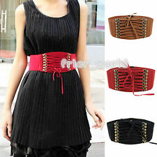 Womens Waist Belt Strap Buckle Cinch Corset Stretch Skinny Waistband Dress Belts