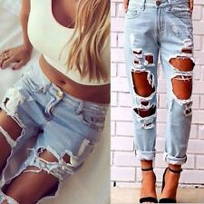 Womens Destroyed Ripped Distressed Casual Denim Pants Boyfriend Jeans Trousers