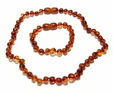 Genuine Baltic Amber Baby Necklace and Bracelet Anklet Set Round Beads