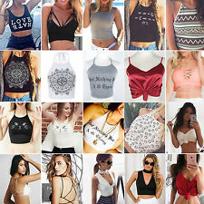 Womens Summer Tank Top Sleeveless Casual Crop Top Vest Bralet Tee T-shirt Blouse