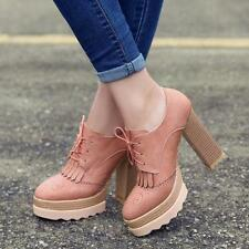 Retro Womens Platform High Chunky Heel Lace Up wing tip tassel Pumps Shoes