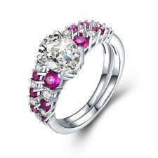 Solid 925 Sterling Silver CZ Ruby Unique Engagement Wedding Set Rings for Women