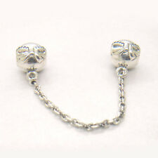 Genuine S925 Sterling Silver Dainty Bow Clear CZ Safety Chain Charm