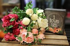 Sweet Home Deco 18'' Large Silk Peony Artificial Bouquet w/ Beautiful Blooms Bud