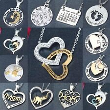 Mother's Day Crystal Love Heart Family Friend Mom Pendant Charm Chain Necklace