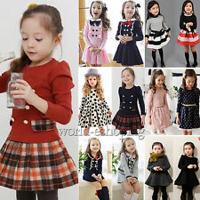Baby Girls Kids Long Sleeve Princess Dress Outfits Preppy School Costume 1-9Y