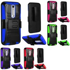 For Motorola Moto G 3rd Gen 2015 Heavy Duty Rugged Stand Clip Holster Case Cover