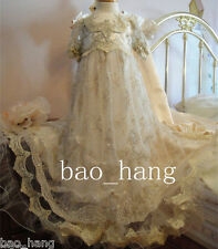 New Champagne Baptism Christening Gowns Lace Toddler Baby Infant Dress Appliques