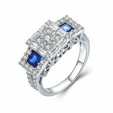 Women 925 Sterling Silver Sapphire CZ RingS Wedding Engagement Fashion Jewelry
