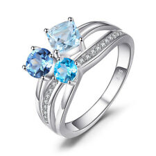 Natural Swiss London Blue Topaz 3 Stones Ring Solid 925 Sterling Silver Jewelry