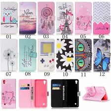 Flip Stand Magnetic Painting PU Leather Wallet Card Holder TPU Case Cover Pouch
