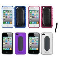 For Apple iPhone 4/4S Hybrid Toungue Kickstand Impact Case Cover Stylus Pen