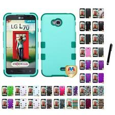 For LG Optimus L70 Hybrid TUFF IMPACT Phone Case Hard Rugged Cover Stylus Pen