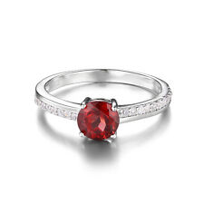 Natural 1.3ct Red Garnet White Topaz Ring Solid 925 Sterling Silver For Women