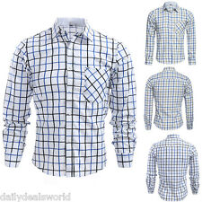New Mens Shirts Check Work Flannel Brushed Cotton Lumberjack Long Sleeve Casual