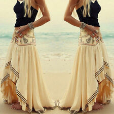 Lady Women's Boho Tribal Floral Skirt Maxi Summer Beach Long Casual Skirt Dress
