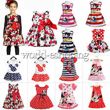 0-7Y Kids Toddler Baby Girls Cartoon Minnie Mouse Dress Vest Skirt Party Dresses