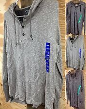 *NWT* Men's DKNY JEANS 3 BUTTON HOODED Waffle Henley Thermal LONG SLEEVE SHIRT