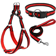 Step In Pet Dog Harness&Collar&Leash Set for Small Medium Dogs Blue Red