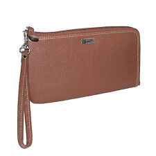 New Buxton Women's Leather RFID L-Zip Wallet with Removable Wrist Strap