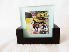 SET OF 4 GLASS COASTERS IN WOODEN HOLDER ~ PERSONALIZE WITH YOUR OWN PHOTOGRAPHS
