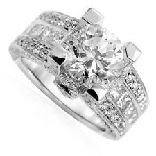 14k Solid White Gold Wide Pave Diamond and White Topaz Engagement Ring