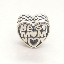 """Authentic S925 Sterling Silver Give Mother Mother's Day Gift """" BEST MOM"""" CHARM"""