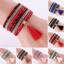 Women Bohemia Multilayer Faux Leather Knitted Tassels Bracelet Bangle Retro