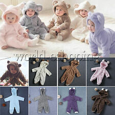 0-12M Newborn Infant Baby Fleece Warm Romper Hoodies Jumpsuit Playsuit Outfits
