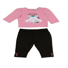 "Quiltex Girls 2 Piece Pink ""Peek-a-boo!"" Printed Top and Black Pant Set"