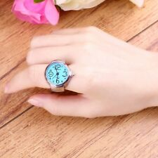 Gift Round Fashion Stainless Steel Quartz Finger Ring Watch Elastic