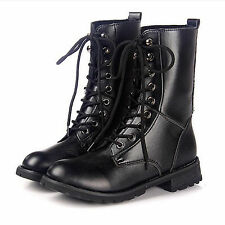 Women Combat Style Army Worker Military Ankle Boots Lace Up Flat Punk Goth Shoes