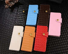 Fashion Woven Pattern PU Leather Card Slots Wallet Case For iPhone 5 6Plus 7Plus