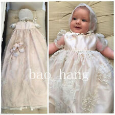 New Infant Long Christening Dress Gown Custom Appliques Baby Baptism Bonnet 2017