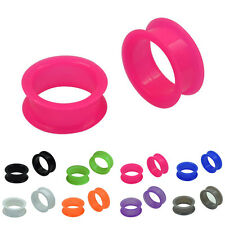 1 PAIR Soft Silicone Ear Tunnels Plugs Gauges Flesh Earlets size 6mm-20mm Black