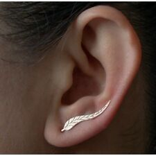 Jewelry Exquisite Gold Plated Leaf Earring Beautiful Feather Stud For Women