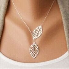 Gold And Sliver Two Leaf Pendant Necklace Chain Multi Layer Statement Woman